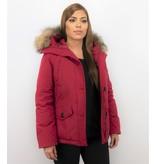TheBrand Kvinnors Vinterjacka Kanada Kort - Parka Sidfickor - 503R - Röd