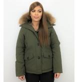 TheBrand Vinterjacka Kanada Kort - Kvinnors Parka Sidfickor - 503G - Grun