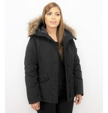 TheBrand Vinterjacka Kvinnors Kanada Kort - Parka Sidfickor - 503Z - Svart