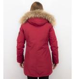 TheBrand Kvinnors Vinterjacka Kanada Lang - Parka Sidfickor - 505R - Röd