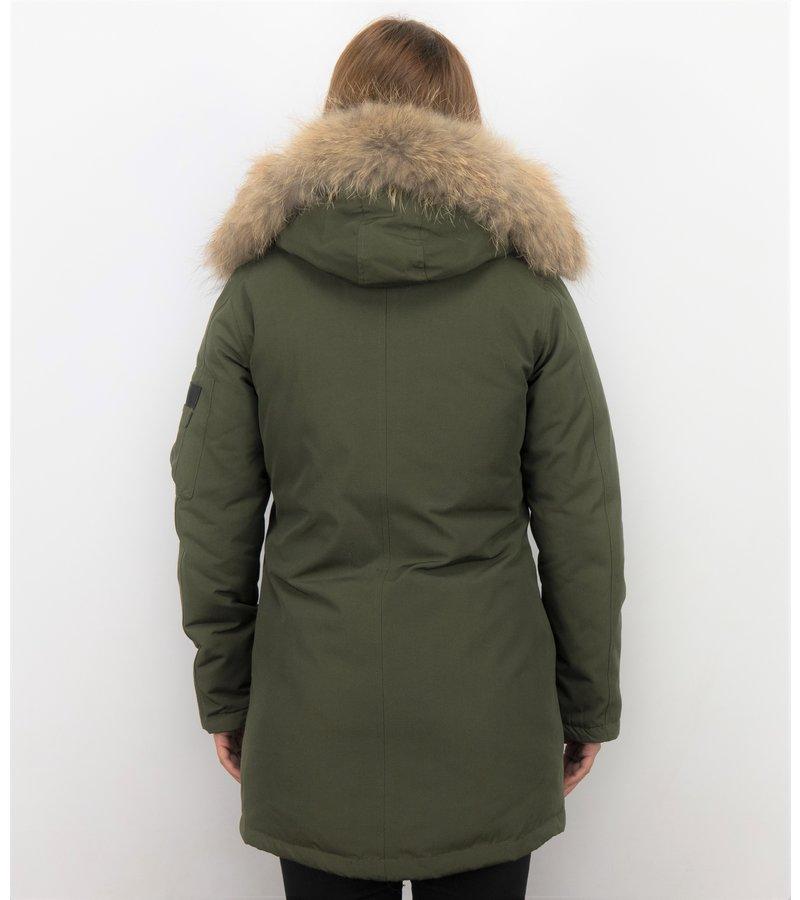 TheBrand Vinterjacka Kanada Lang - Kvinnors Parka Sidfickor - 505G - Grun