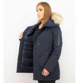 TheBrand Vinterjacka Kanada Lang - Parka Sidfickor Kvinnors - 505B - Blå