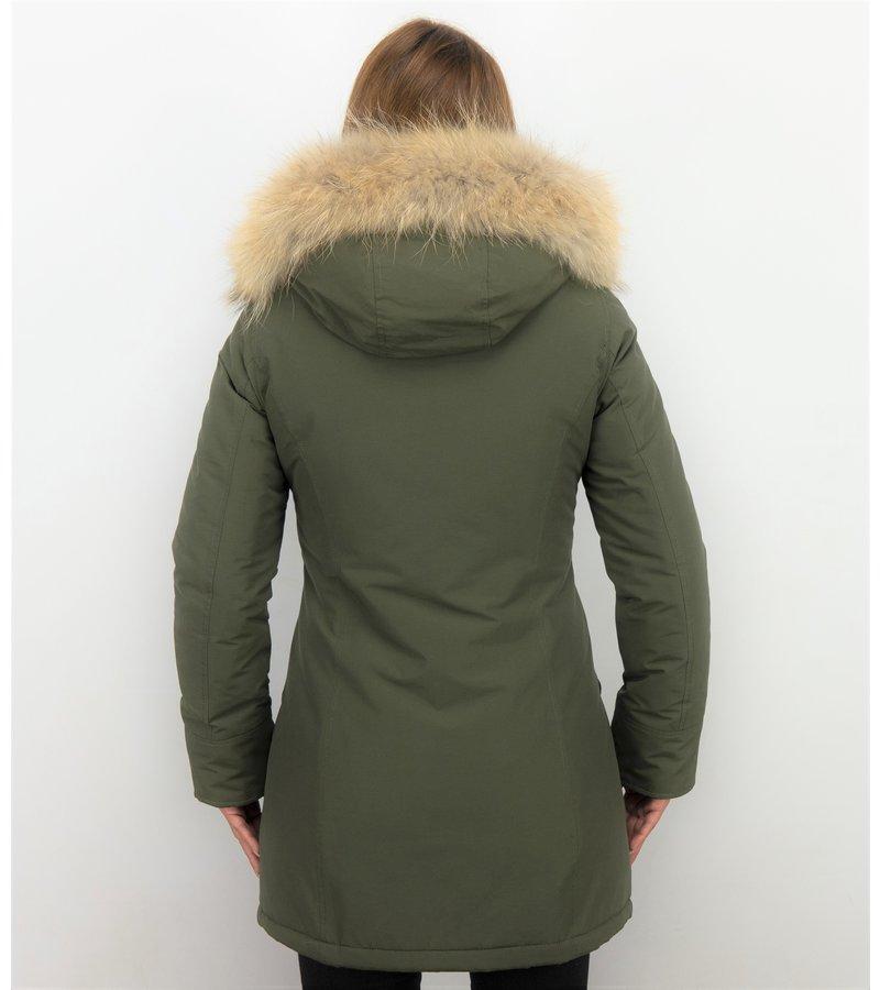 TheBrand Kvinnor Vinterjackor Varma - Wooly Jacka Lang - LB280PM-G - Khaki