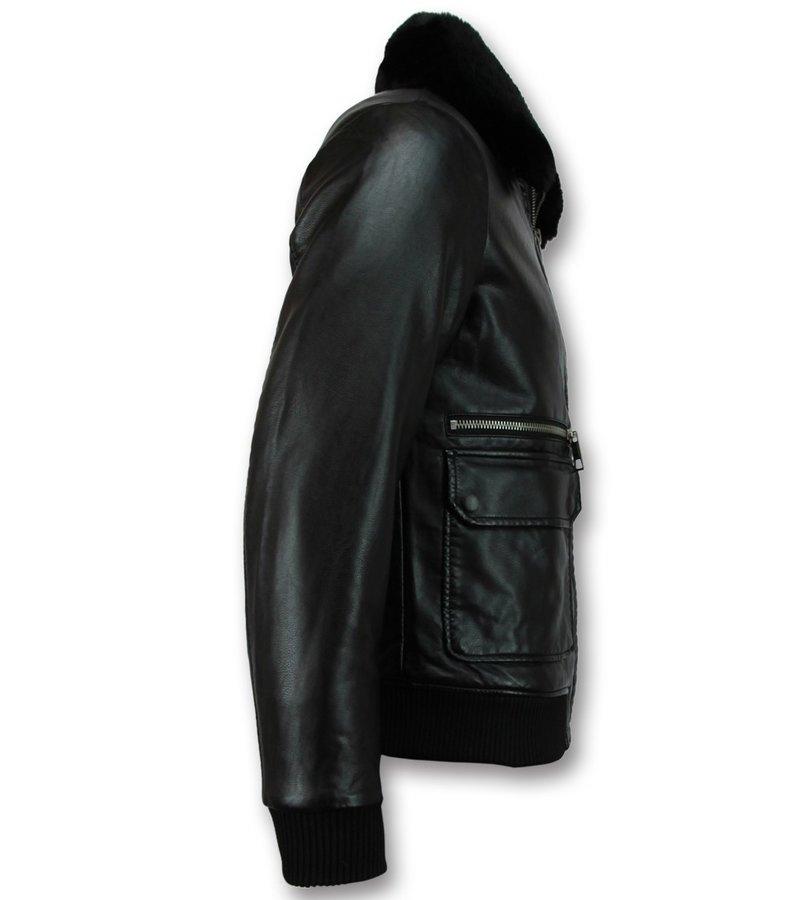 Wareen W Pilotjacka skinn herr - faux leather jacket - Svart