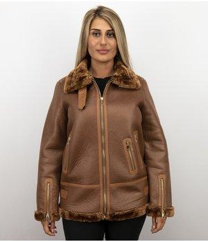Z-design Shearling Jacka Dam - Kort vinterkappa - Brun