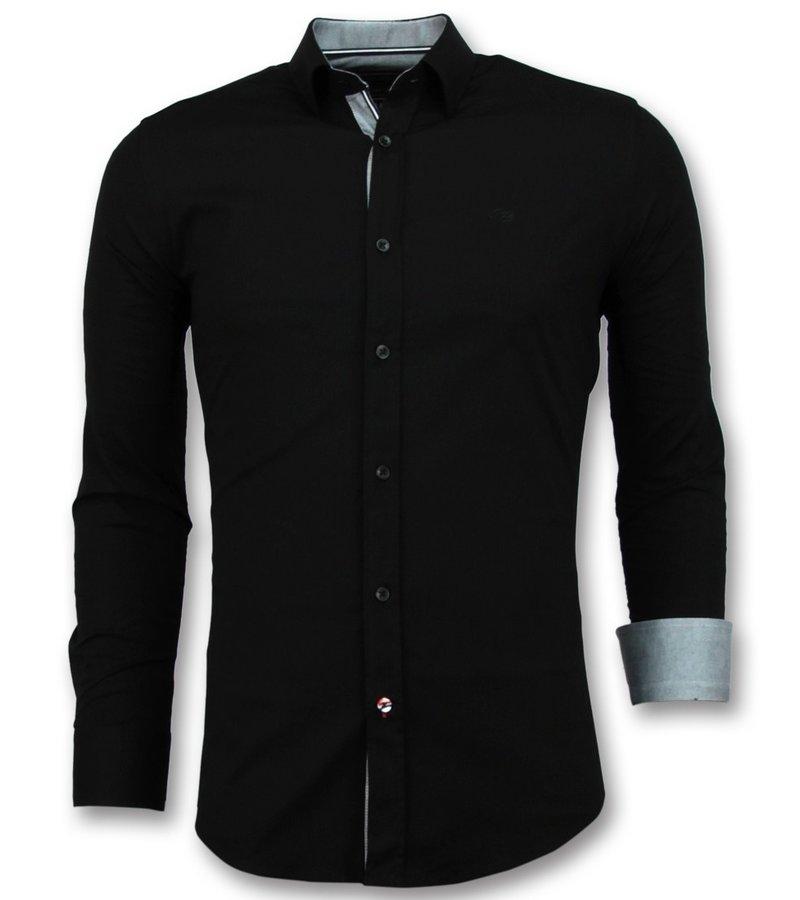 Gentile Bellini Italienska Blanka Blusar Män - Slim Fit Skjortor Business - 3036 - Svart
