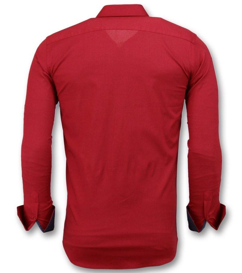 Gentile Bellini Italienska Blanka Blusar  - Män  Slim Fit Skjortor Business - 3037 - Röd