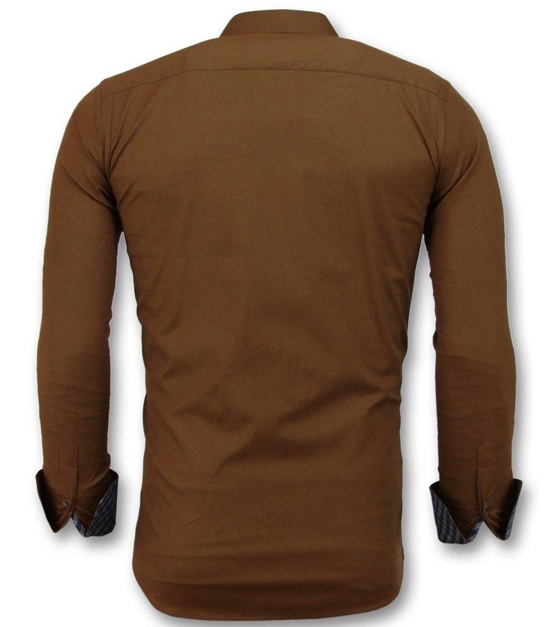 Gentile Bellini Italienska Blanka Blusar - Slim Fit Skjortor Business Män - 3038 - Brun
