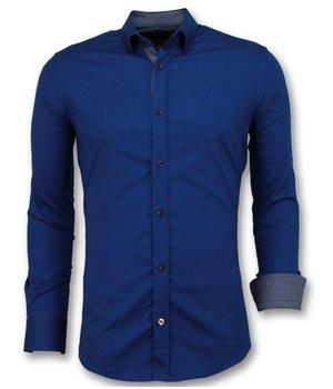 Gentile Bellini Slim Fit Herrtröjor För Män - Blank Blus Företag - 3041 - Blå