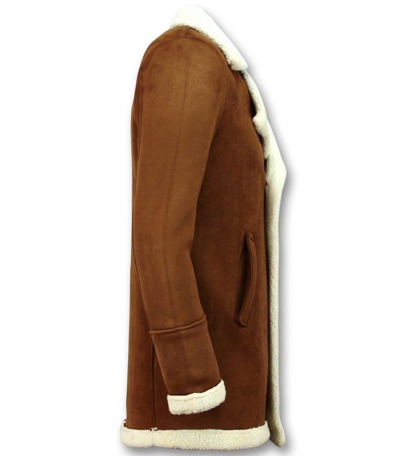 Frilivin Suede Shearling Coat  Camel Herr - Brun