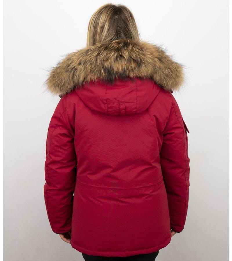 Matogla Vinterrock Medellängd - Pälskrage Parka Damer - 7603R - Röd
