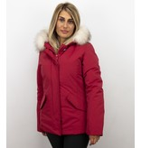 Matogla Exklusiv trendig Fur Coat - Wooly Kort Jacka - 5897R - Röd