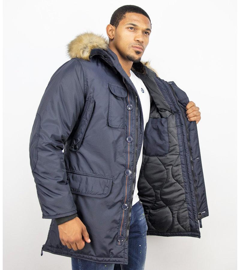 Just Key Vinterjackor Online Man - Fake Fur Collar Parka - Blå