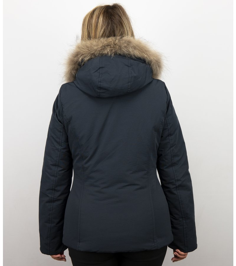 Beluomo Pälsrock Med Liten Pälskrage - Damer Wooly Jacka Kort - 5898B - Blå