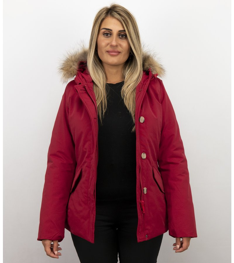 Beluomo Pälsrock Med Liten Pälskrage - Wooly DamerJacka Kort - 5898R - Röd