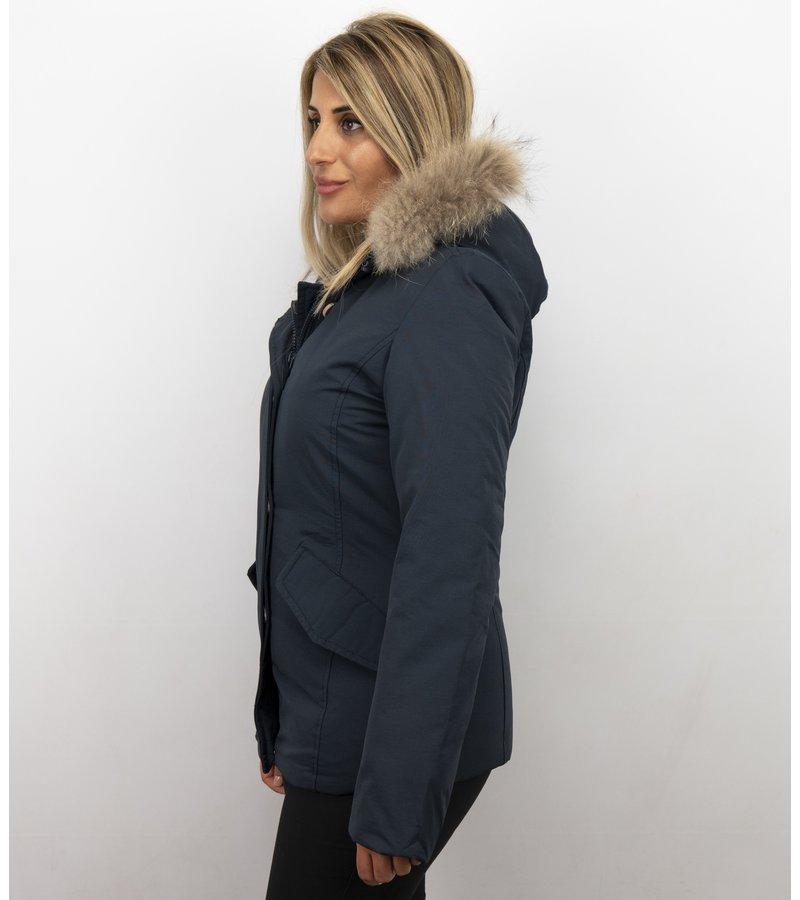 Beluomo Pälsrock Med Liten Pälskrage - Wooly Kort Jacka - 5897B - Blå