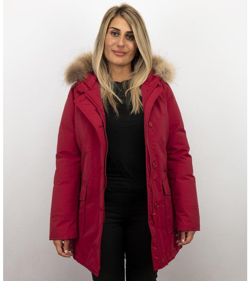 Beluomo Vinterjackor Varma - Damer  Wooly Jackor Lang - 5692A-R -Röd