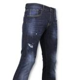True Rise  - D&Co Grundläggande Pants Män - Jeans med färgfläckar - D3068 - Blå