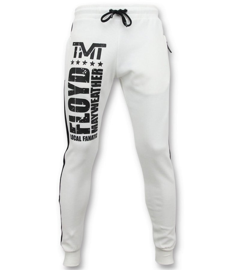 Local Fanatic Exklusiv Joggers Män - Floyd Mayweather Sweat Pants - Vit
