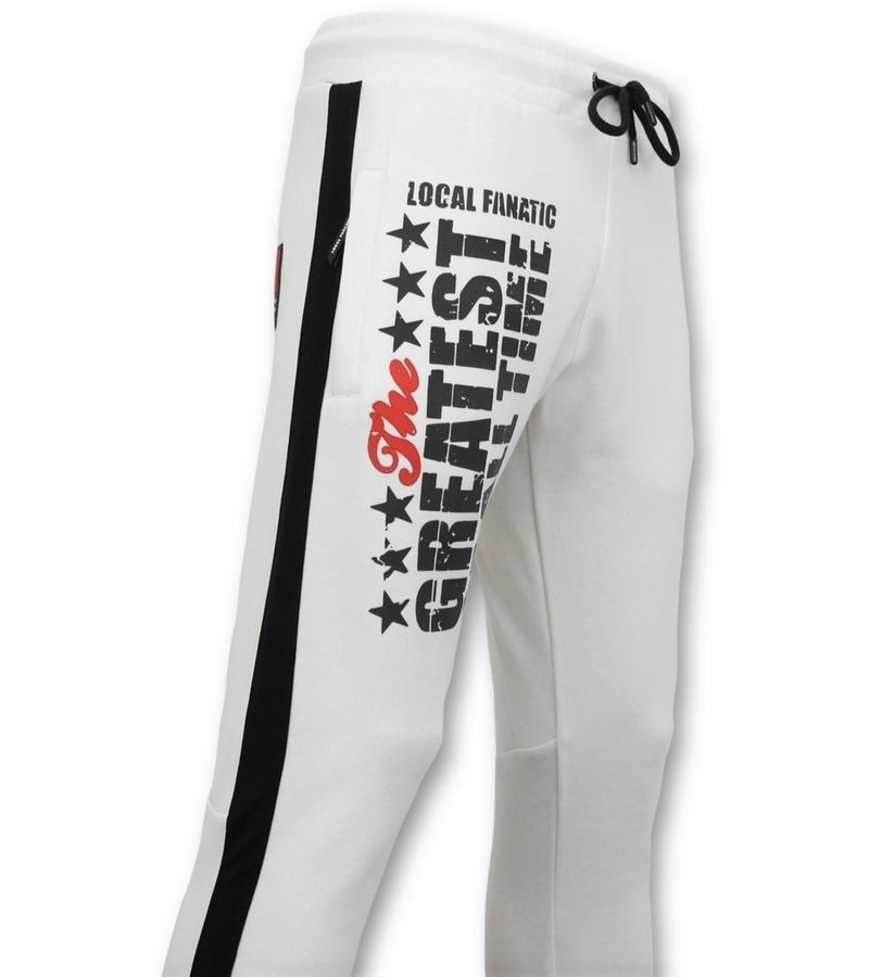 Local Fanatic Exklusiv Sweat Pants Män - Muhammad Ali Training Pants - Vit