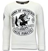 Local Fanatic Strass Sweater Män - Sons of Anarchy Tröja - Vit