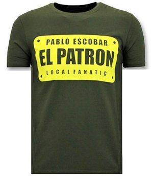 Local Fanatic Mens T-shirt Print - Pablo Escobar El Patron - Grön