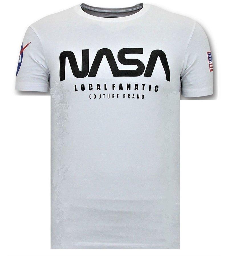 Local Fanatic T-shirt Män med Push - Nasa amerikanska flaggan tröja - vit