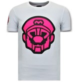 Local Fanatic Mens T-shirt Print - Mario Neon Seal - Vit