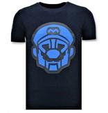 Local Fanatic Mens T-shirt Print - Mario Neon Seal - Blå