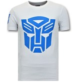 Local Fanatic Cool T-shirt Män - Transformers Robots Print - Vit