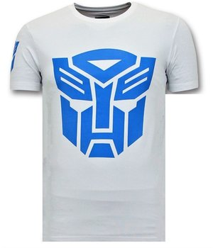 Local Fanatic Cool T-shirt Män - Transformers Robots Print - Vit