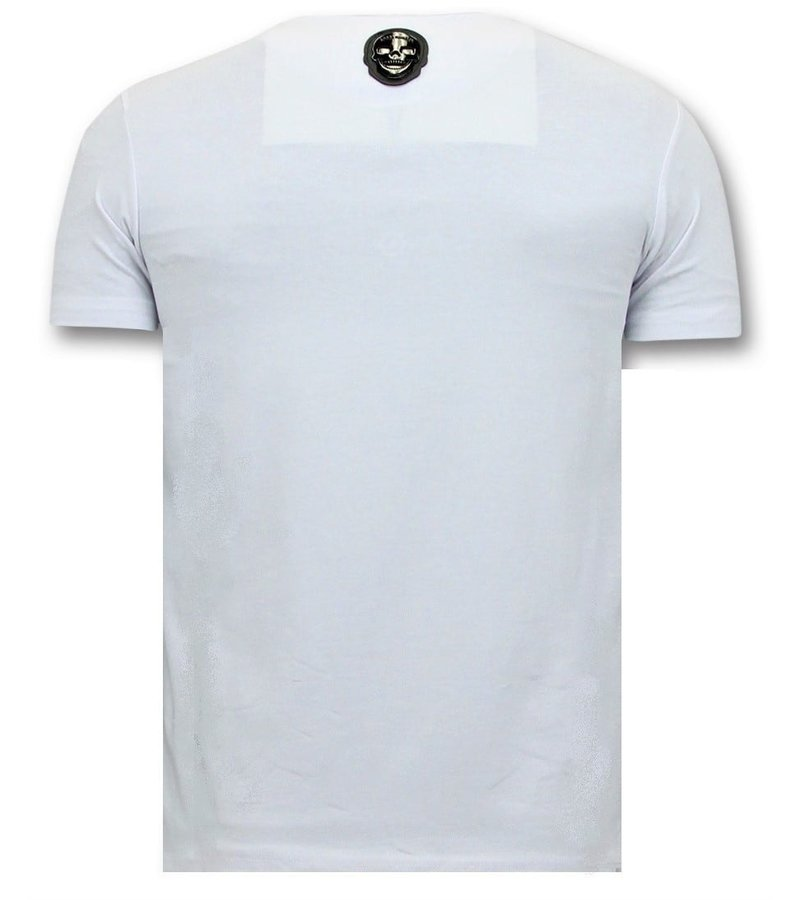 Local Fanatic T-shirt Män med Push - Narcos Pablo Escobar - Vit