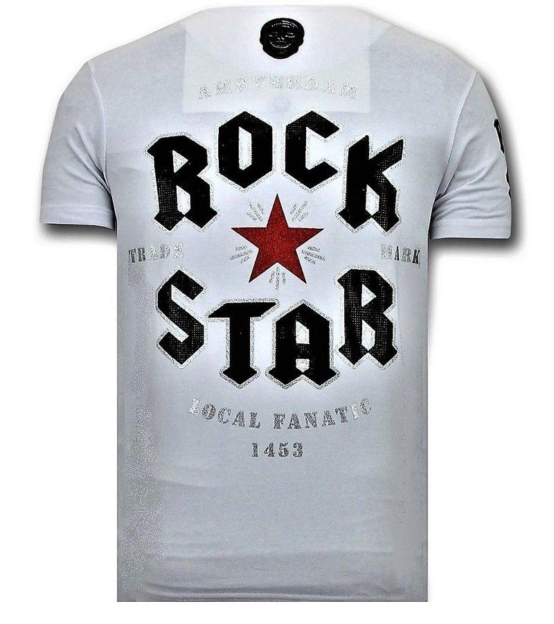 Local Fanatic Cool T-shirt Män - Rock My World Cat - 11-6366W - Vit