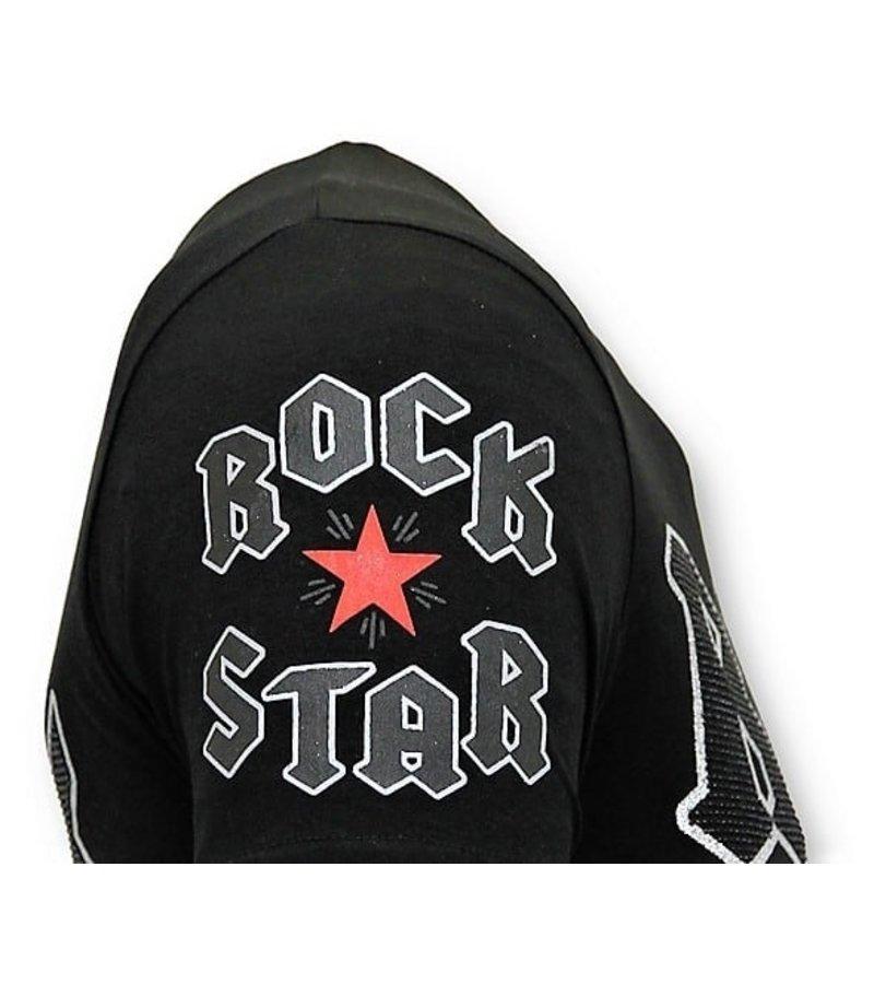 Local Fanatic Rolig T-tröja Män - Rock My World Cat - 11-6366Z - Svart