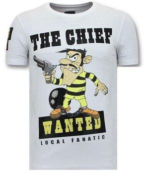Local Fanatic Exklusiv T-shirt Män Print - Chief sökes - Vit
