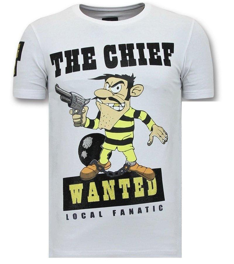 Local Fanatic Exklusiv T-shirt Män Print - Chief Sökes - 11-6367W - Vit
