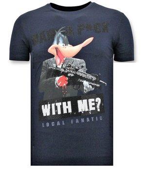 Local Fanatic Män T shirt tryck - andjakt Gun - Blue