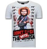 Local Fanatic Män T shirt tryck - Bloody Chucky Angry - Vit