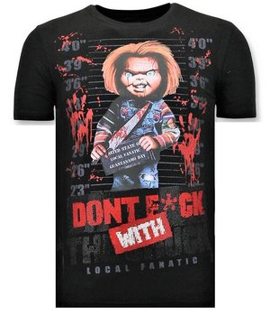 Local Fanatic Cool T-shirt Män - Bloody Chucky Print - Svart