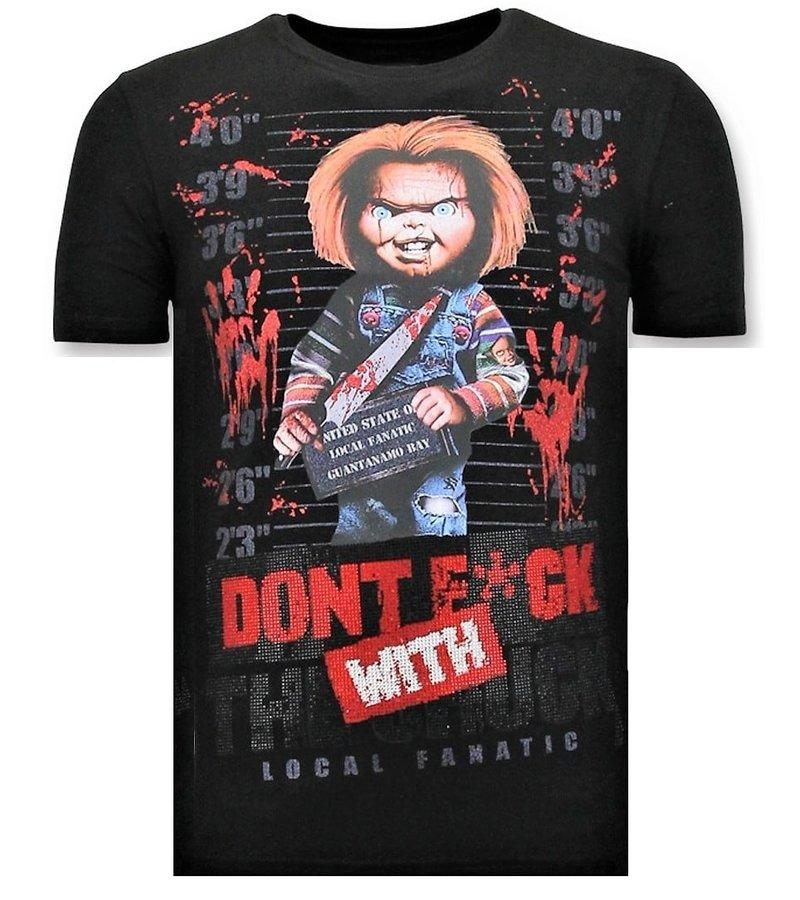 Local Fanatic Cool T-shirt Män - Bloody Chucky Print - Svart