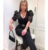 PARISIAN Flocktryck Sheer Sleeve Plunge Neck Body - kvinnor - Svart