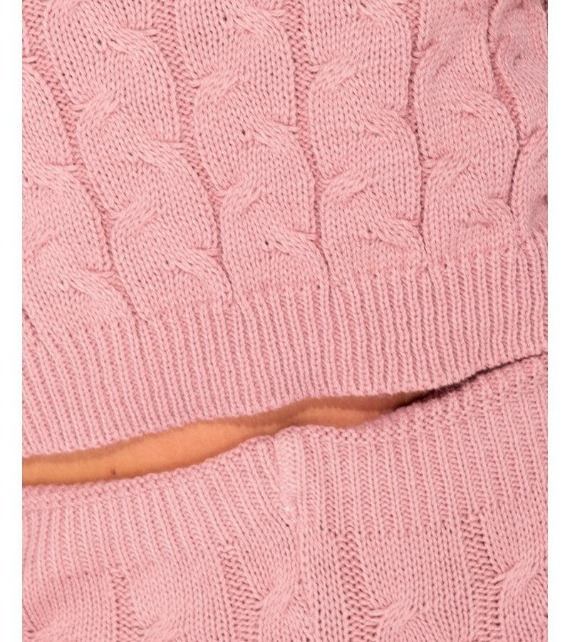 PARISIAN Cable Knit Långärmad och Leggings Set Lounge - Ladies - Pink