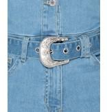 PARISIAN Western Belt Detalj långärmad Denim Jumpsuit - kvinnor - Blå