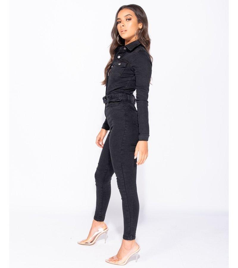 PARISIAN Western Belt Detalj långärmad Denim Jumpsuit - kvinnor - Svart