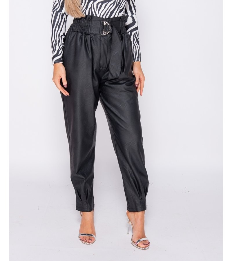 PARISIAN PU Paperbag Midja Veckat Him Tapered Trousers - kvinnor - Svart