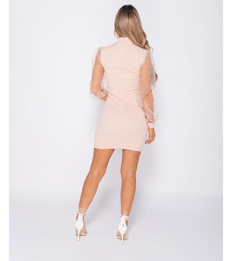 PARISIAN Sheer organza Puff långärmad Bodycon Klänning - kvinnor - Pink