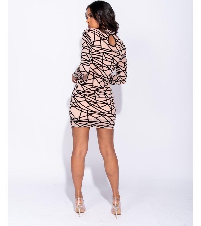 PARISIAN Abstract Print Long muff Mesh Bodycon Dress - kvinnor - Pink