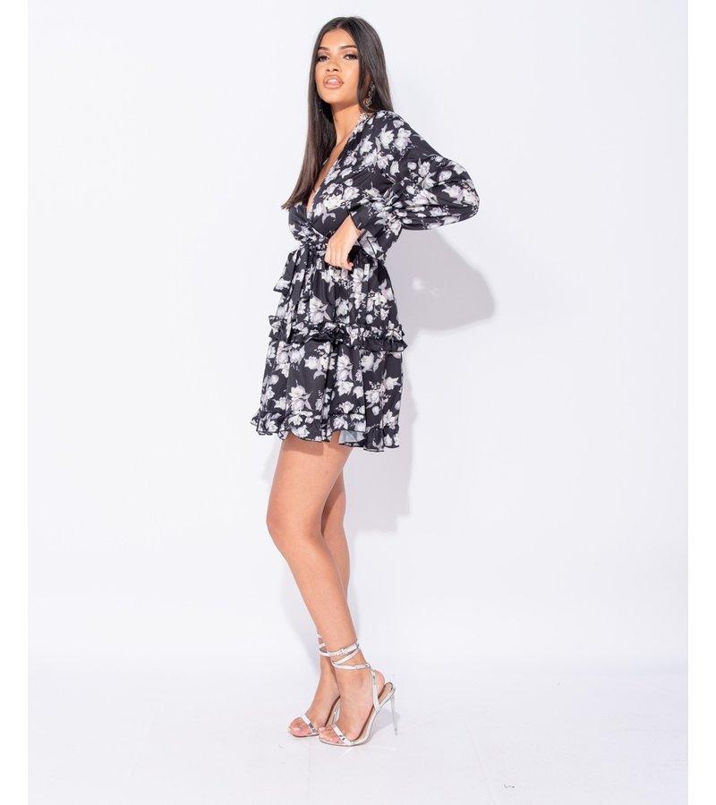 PARISIAN Floral Frill Trim Tiered långärmad klänning - kvinnor - Svart