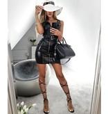 PARISIAN Leather Look Biker Style Bodycon Klänning - kvinnor - Svart