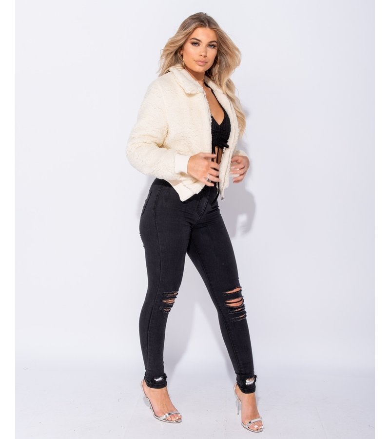 PARISIAN Värde Fur Zip front Bomber Jacket - kvinnor - Beige